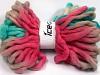 Jumbo Superwash Wool Print Turquoise Pink Grey