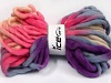 Jumbo Superwash Wool Print Purple Pink Light Salmon Light Blue