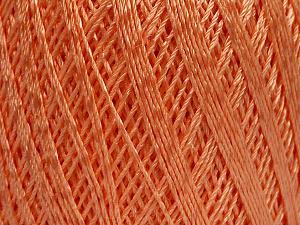 Ne: 10/3 +600d. Viscose. Nm: 17/3 Fiber Content 72% Mercerised Cotton, 28% Viscose, Light Orange, Brand Ice Yarns, Yarn Thickness 1 SuperFine  Sock, Fingering, Baby, fnt2-49871