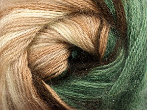 Fiber Content 60% Premium Acrylic, 20% Mohair, 20% Wool, Brand Ice Yarns, Green, Cream, Brown Shades, Yarn Thickness 2 Fine  Sport, Baby, fnt2-50296