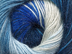 Fiber Content 57% Premium Acrylic, 3% Metallic Lurex, 20% Mohair, 20% Wool, Brand Ice Yarns, Blue Shades, Yarn Thickness 2 Fine  Sport, Baby, fnt2-50304