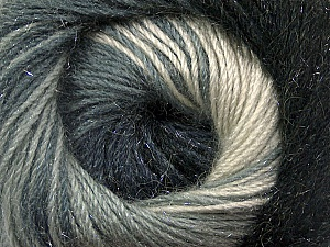 Fiber Content 57% Premium Acrylic, 3% Metallic Lurex, 20% Wool, 20% Mohair, White, Brand Ice Yarns, Grey Shades, Black, Yarn Thickness 2 Fine  Sport, Baby, fnt2-50314