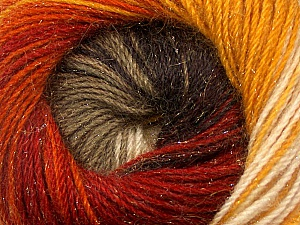 Fiber Content 57% Premium Acrylic, 3% Metallic Lurex, 20% Wool, 20% Mohair, Brand Ice Yarns, Gold, Cream, Copper, Camel, Brown, Yarn Thickness 2 Fine  Sport, Baby, fnt2-50316