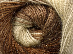 Fiber Content 57% Premium Acrylic, 3% Metallic Lurex, 20% Wool, 20% Mohair, Brand Ice Yarns, Cream, Brown Shades, Yarn Thickness 2 Fine  Sport, Baby, fnt2-50317