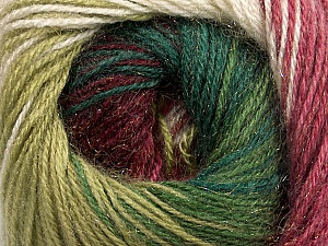Fiber Content 57% Premium Acrylic, 3% Metallic Lurex, 20% Wool, 20% Mohair, White, Brand Ice Yarns, Green Shades, Burgundy, Yarn Thickness 2 Fine  Sport, Baby, fnt2-50322