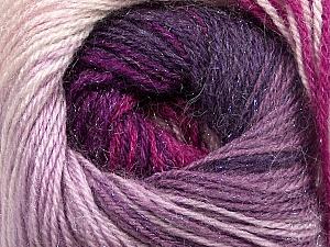 Fiber Content 57% Premium Acrylic, 3% Metallic Lurex, 20% Wool, 20% Mohair, Purple, Lilac, Lavender, Brand Ice Yarns, Fuchsia, Yarn Thickness 2 Fine  Sport, Baby, fnt2-50325