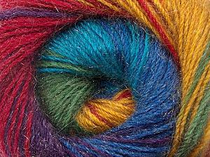 Fiber Content 57% Premium Acrylic, 3% Metallic Lurex, 20% Wool, 20% Mohair, Rainbow, Brand Ice Yarns, Yarn Thickness 2 Fine  Sport, Baby, fnt2-50327