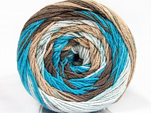 Fiber Content 100% Cotton, White, Turquoise, Brand Ice Yarns, Brown Shades, Yarn Thickness 3 Light  DK, Light, Worsted, fnt2-50559