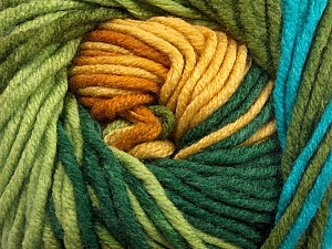 Fiber Content 100% Acrylic, Yellow, Turquoise, Brand Ice Yarns, Green Shades, Gold, Yarn Thickness 5 Bulky  Chunky, Craft, Rug, fnt2-50840