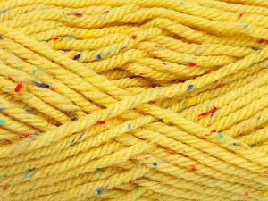 Fiber Content 72% Acrylic, 3% Viscose, 25% Wool, Yellow, Brand Ice Yarns, Yarn Thickness 6 SuperBulky  Bulky, Roving, fnt2-51500