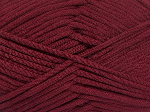 This is a tube-like yarn with soft fleece inside. Fiber Content 73% Viscose, 27% Polyester, Brand Ice Yarns, Burgundy, Yarn Thickness 5 Bulky  Chunky, Craft, Rug, fnt2-52048