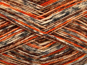 Fiber Content 75% Superwash Wool, 25% Polyamide, Orange, Brand Ice Yarns, Grey, Cream, Brown, Yarn Thickness 1 SuperFine  Sock, Fingering, Baby, fnt2-52155