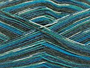 Fiber Content 50% Superwash Merino Wool, 25% Polyamide, 25% Bamboo, Turquoise, Brand Ice Yarns, Grey, Blue, Yarn Thickness 1 SuperFine  Sock, Fingering, Baby, fnt2-52243