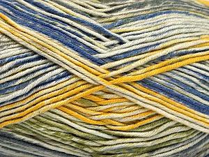 Fiber Content 50% Cotton, 50% Acrylic, Yellow, Brand Ice Yarns, Green, Cream, Blue, Yarn Thickness 2 Fine  Sport, Baby, fnt2-52919
