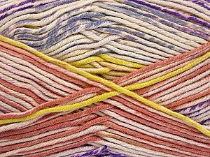 Fiber Content 50% Cotton, 50% Acrylic, Yellow, Salmon, Lilac, Brand Ice Yarns, Cream, Yarn Thickness 2 Fine  Sport, Baby, fnt2-52920