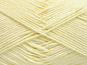 Baby cotton is a 100% premium giza cotton yarn exclusively made as a baby yarn. It is anti-bacterial and machine washable! Fiber Content 100% Giza Cotton, Lemon Yellow, Brand Ice Yarns, Yarn Thickness 3 Light  DK, Light, Worsted, fnt2-53078
