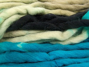 Fiber Content 100% Superwash Wool, Turquoise, Brand Ice Yarns, Grey, Black, Yarn Thickness 6 SuperBulky  Bulky, Roving, fnt2-53566