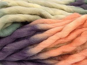 Fiber Content 100% Superwash Wool, Purple, Light Salmon, Khaki, Brand Ice Yarns, Yarn Thickness 6 SuperBulky  Bulky, Roving, fnt2-53572