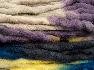 Fiber Content 100% Superwash Wool, Yellow, Purple, Brand Ice Yarns, Blue, Black, Yarn Thickness 6 SuperBulky  Bulky, Roving, fnt2-53573