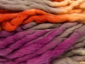 Fiber Content 100% Superwash Wool, Yellow, Purple, Orange, Brand Ice Yarns, Yarn Thickness 6 SuperBulky  Bulky, Roving, fnt2-53575