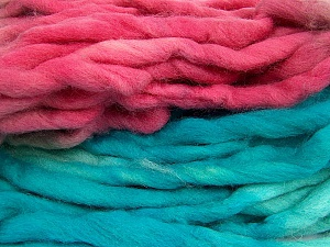Fiber Content 100% Superwash Wool, Turquoise, Pink, Brand Ice Yarns, Grey, Yarn Thickness 6 SuperBulky  Bulky, Roving, fnt2-53576