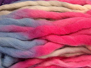 Fiber Content 100% Superwash Wool, Purple, Pink, Light Salmon, Light Blue, Brand Ice Yarns, Yarn Thickness 6 SuperBulky  Bulky, Roving, fnt2-53577