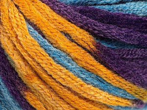 Fiber Content 50% Wool, 50% Acrylic, Purple, Brand Ice Yarns, Gold, Blue, Yarn Thickness 6 SuperBulky  Bulky, Roving, fnt2-54385