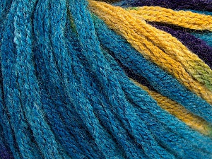 Fiber Content 50% Wool, 50% Acrylic, Turquoise, Purple, Brand Ice Yarns, Gold, Yarn Thickness 6 SuperBulky  Bulky, Roving, fnt2-54386