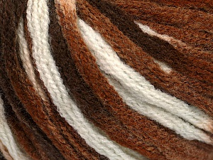 Fiber Content 50% Wool, 50% Acrylic, White, Brand Ice Yarns, Brown Shades, Yarn Thickness 6 SuperBulky  Bulky, Roving, fnt2-54765