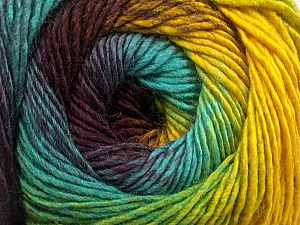 Fiber Content 50% Acrylic, 50% Wool, Yellow, Turquoise, Maroon, Brand Ice Yarns, Green, Yarn Thickness 2 Fine  Sport, Baby, fnt2-55462