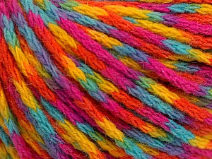 Fiber Content 60% Acrylic, 40% Wool, Yellow, Turquoise, Orange, Brand Ice Yarns, Fuchsia, Yarn Thickness 3 Light  DK, Light, Worsted, fnt2-55537