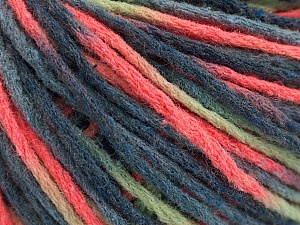 Fiber Content 50% Wool, 50% Acrylic, Neon Orange, Brand Ice Yarns, Green, Blue Shades, Yarn Thickness 4 Medium  Worsted, Afghan, Aran, fnt2-55743