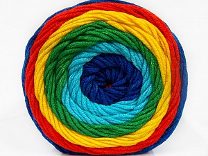 Fiber Content 100% Acrylic, Yellow, Turquoise, Red, Brand Ice Yarns, Green, Blue, Yarn Thickness 4 Medium  Worsted, Afghan, Aran, fnt2-56557