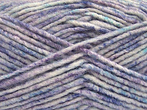 Fiber Content 70% Acrylic, 30% Wool, White, Turquoise, Lilac Shades, Brand Ice Yarns, Yarn Thickness 4 Medium  Worsted, Afghan, Aran, fnt2-57646
