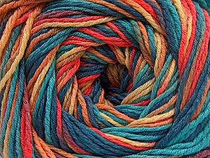 Fiber Content 100% Acrylic, Turquoise, Salmon, Jeans Blue, Brand Ice Yarns, Gold, Yarn Thickness 3 Light  DK, Light, Worsted, fnt2-57765