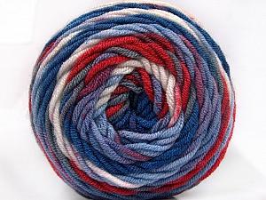 Fiber Content 100% Acrylic, White, Red, Brand Ice Yarns, Grey, Blue Shades, Yarn Thickness 4 Medium  Worsted, Afghan, Aran, fnt2-58030