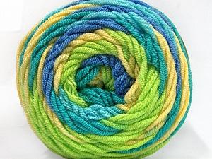 Fiber Content 100% Acrylic, Yellow, Turquoise, Light Green, Brand Ice Yarns, Blue, Yarn Thickness 4 Medium  Worsted, Afghan, Aran, fnt2-58031