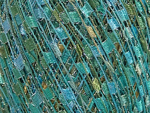 Trellis  Fiber Content 95% Polyester, 5% Lurex, White, Turquoise, Mint Green, Brand Ice Yarns, Yarn Thickness 5 Bulky  Chunky, Craft, Rug, fnt2-58062