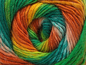 Fiber Content 70% Acrylic, 30% Wool, Orange, Brand Ice Yarns, Green Shades, Gold, Yarn Thickness 3 Light  DK, Light, Worsted, fnt2-58148