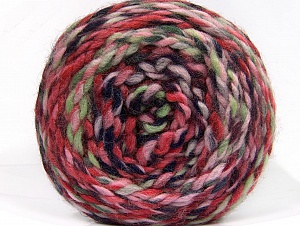 Fiber Content 70% Acrylic, 30% Wool, Pink Shades, Navy, Mint Green, Brand Ice Yarns, Yarn Thickness 6 SuperBulky Bulky, Roving, fnt2-58152