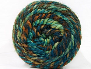 Fiber Content 70% Acrylic, 30% Wool, Turquoise, Brand Ice Yarns, Green Shades, Brown Shades, Yarn Thickness 6 SuperBulky Bulky, Roving, fnt2-58158