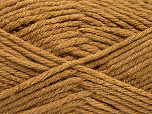 Fiber Content 72% Premium Acrylic, 3% Metallic Lurex, 25% Wool, Light Brown, Brand Ice Yarns, Gold, Yarn Thickness 5 Bulky  Chunky, Craft, Rug, fnt2-58199