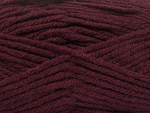 Fiber Content 72% Premium Acrylic, 3% Metallic Lurex, 25% Wool, Maroon, Brand Ice Yarns, Yarn Thickness 5 Bulky  Chunky, Craft, Rug, fnt2-58202