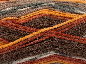 Fiber Content 50% Wool, 50% Acrylic, Brand Ice Yarns, Grey, Gold, Cream, Copper, Brown Shades, Yarn Thickness 4 Medium  Worsted, Afghan, Aran, fnt2-58278