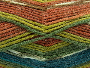Fiber Content 50% Acrylic, 50% Wool, Turquoise, Brand Ice Yarns, Green Shades, Brown Shades, Yarn Thickness 4 Medium  Worsted, Afghan, Aran, fnt2-58289