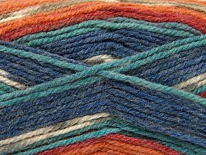 Fiber Content 50% Acrylic, 50% Wool, Turquoise Shades, Orange Shades, Khaki, Brand Ice Yarns, Yarn Thickness 4 Medium  Worsted, Afghan, Aran, fnt2-58290