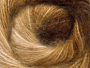Fiber Content 50% Mohair, 50% Acrylic, Brand Ice Yarns, Cream, Brown Shades, Yarn Thickness 2 Fine  Sport, Baby, fnt2-58357