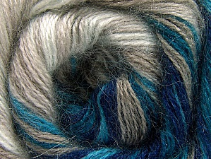 Fiber Content 50% Mohair, 50% Acrylic, White, Turquoise, Navy, Brand Ice Yarns, Beige, Yarn Thickness 2 Fine  Sport, Baby, fnt2-58360