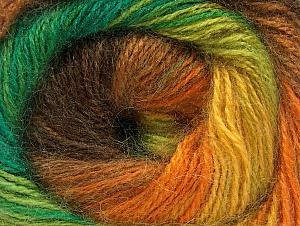 Fiber Content 50% Mohair, 50% Acrylic, Yellow, Orange, Brand Ice Yarns, Green Shades, Brown, Yarn Thickness 2 Fine  Sport, Baby, fnt2-58365