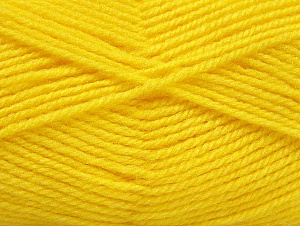 Fiber Content 50% Wool, 50% Acrylic, Yellow, Brand Ice Yarns, Yarn Thickness 4 Medium  Worsted, Afghan, Aran, fnt2-58378